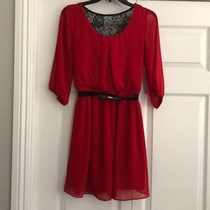 Red mid-sleeve dress
